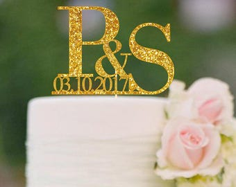 Initials Cake Topper Letter Cake Toppers Names and Date Personalized Wedding Cake Topper Monogram Cake Topper  Custom Topper