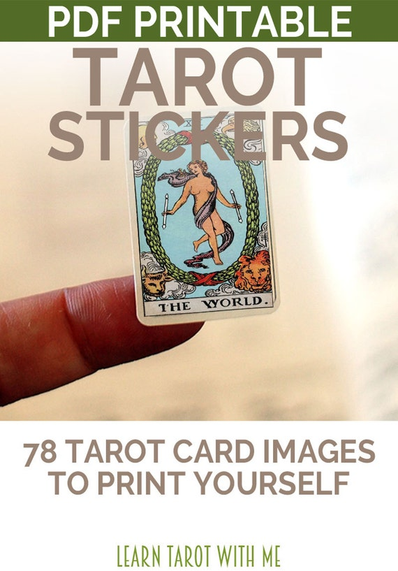 Printable Tarot Deck A Tarot Card Deck And Printable: Tarot Printable Stickers In Color Planner Stickers Journal