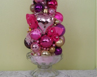 Teacup Valentine's Day Bottle Brush Tree Decoration Ornament