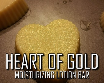Heart of Gold | 2-pk | Pure Vegan Moisturizing Coco Chanel-Scented Shea/Cocoa/Coconut/Sweet Almond Oil Solid Lotion Bars Melts with Shimmer