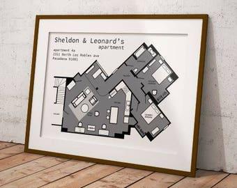 Big Bang Theory floor plans, TV floor plans print, Sheldon apartment, Floor plans print, Big Bang Theory print
