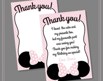 Minnie Mouse Thank you Card, Printable Girls Party Invitation, Black White Polka Dots and Pink, Second Birthday, Oh Two-dles