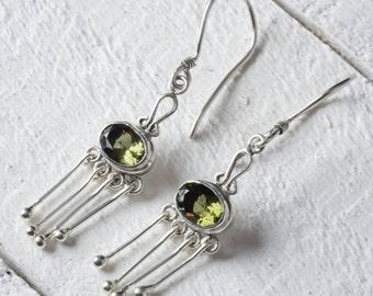 4.5cm Sterling Silver Bezel Set Oval Cut Faceted Moldavite Earrings - Silver Jewelry Drop Earrings J755