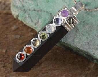 1.75 Inch SHUNGITE Chakra Pendant - Chakra Stone Set in Shungite Jewelry, 7 Chakra Necklace, Healing Stone, Chakra Jewelry E0258