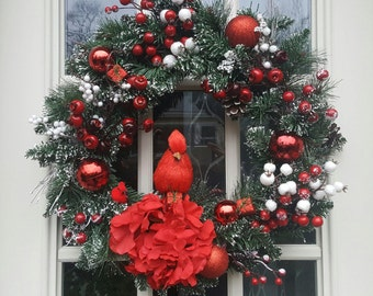Cardinal Wreath, Christmas Wreath, Winter Wreath, Evergreen Wreath, Red and White Wreath, Holiday Wreath, Christmas Decor, Front Door Wreath