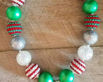Grinch Inspired Chunky Necklace, Bubblegum Bead Necklace, Chunky Beads, Baby Bubblegum Necklace, Holiday Necklace, Christmas Chunky Necklace