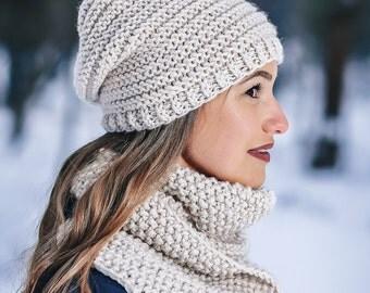 Knit hat women Wool winter set Beige hat Beige beanie Hand knit scarf Wool hat scarf Wool hat women Wool hat men Knit hat women beanie
