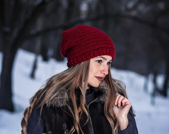 Marsala winter hat Red winter hat Handmade red hat Hat for women Knit red hat Gift for her Slouchy beanie Winter beanie Winter red hat