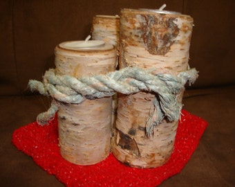 Real WHITE BIRCH LOG tea-light candle holder set (Leave together or separate for three individual)