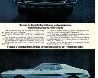 1970 American Motors Javelin vintage magazine ad  wall art man cave (1705)