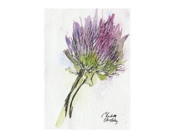 Chives II- Watercolor ACEO Original