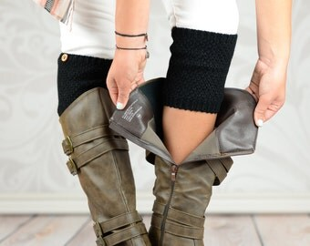Barrel Knit Boot Cuffs with Button - Black