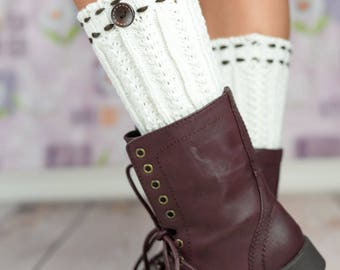 White Threaded Button Boot Cuffs