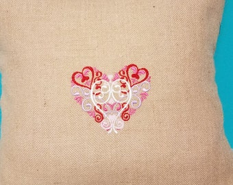 Heirloom Valentine Heart Pillow cover to fit 18 x 18 pillow