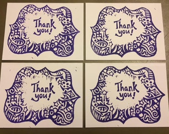 Set of Four Thank You Cards - Purple Doodles
