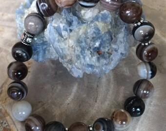 Botswana Agate Stretch Bracelet! Premium Beads Healing Bracelet! Natural Healing Jewelry Meditation Metaphysical