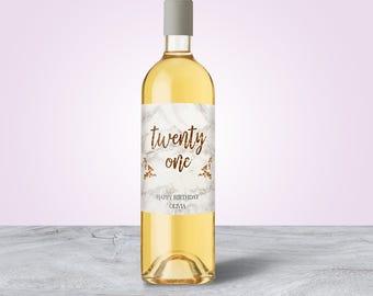 21st Birthday Gift Ideas, 21st Birthday Decorations, 21st Birthday Gift for Her, Birthday Wine Label, 21st Birthday Ideas, Custom Wine Label