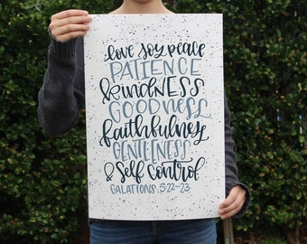 Art Print - Fruit of the Spirit - Love Joy Peace Patience Kindness Goodness Faithfulness Gentleness & Self Control - Galations 5:22-23