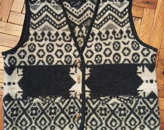 Vintage Wool Western Vest Southwestern Vest 1990s Vest At Last and Co 90s Fashion 1990s Normcore Western Wear Native American Style Vest