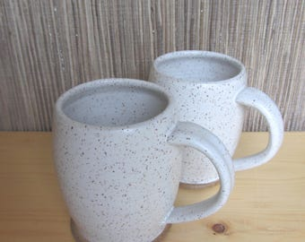 Handmade pottery mugs, set of white pottery coffee cup, speckled white mug set, farmhouse white mugs, ceramic mug gift, mother's day