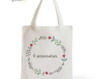 Tote Bag wedding personalized Poppies, romantic gift for her, gift for Valentine's day for him, typography, statement, quote