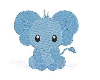 Mini Elephant Machine Embroidery Design - Baby Boy Fill Stitch Embroidery - INSTANT DOWNLOAD - pes hus jef vip vp3 xxx dst exp - 6 sizes