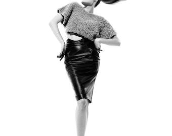 High waist faux leather pencil skirt