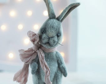 Artist teddy little  Bunny Grey -  artist toy rabbit,  teddy bear bunny, OOAK teddy bunny , easter bunny,  teddy rabbit toy