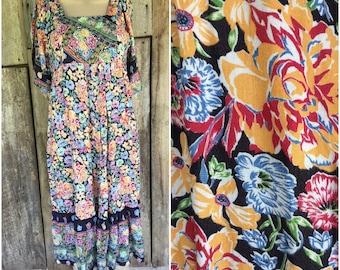 Flowy boho dress, hippie boho dress, vintage 70's dress, bohemian dress, floral midi dress, gypsy dress, festival dress, mondy malone