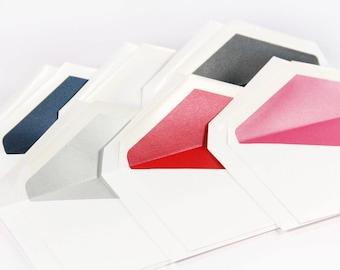 25 -  White Double Wedding Envelopes with Envelope Liner - 5 5/16 x 7 5/8