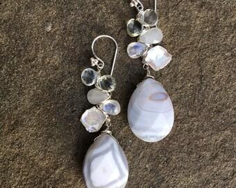 Agate, Aquamarine, Prasiolite, Rainbow Moonstone and Freshwater Pearl Earrings