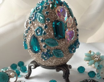 Jeweled Egg, Easter Egg, Paschal Egg, Jewelry Art, Home Decor, Art Collectible, OOAK Gifts, Family Heirloom Art, Home Accessories