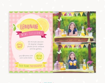 Summer Mini Session Template, Lemonade Stand Template, Pink Lemonade, Marketing Board, Photoshop Template, Photography Marketing Set