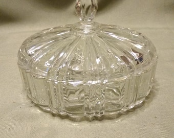 Vintage Anchor Hocking Old Cafe Pattern Candy Dish Covered Dish Clear Glass