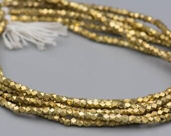Faceted Gold Beads 4mm Cornerless Cube Diamond Cut Brass Beads - Jewelry Making Supplies SKU-MCC4G-31