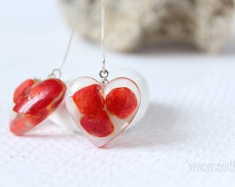 Valentines earrings Red coral earrings Heart resin earrings s Silver earrings Natural Stone earrings Mother's Day Birthday gift