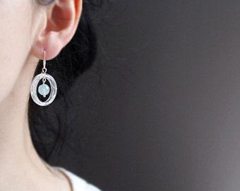 Aquamarine Earrings Aqua blue resin earrings Silver earrings March Birthstone Gift for Her Sterling Silver earrings Everyday jewelry
