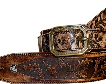 Vegetable tanned leather guitar strap Marrone-Laser Engraved and colored by hand