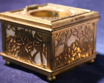 Tiffany Studios Inkwell * Grapevine Pattern * Caramel and Cream Slag behind Bronze