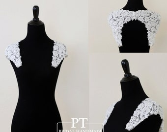 Detachable Keyhole Back Sleeves , Open Back Cap Sleeves, Detachable Wedding Dress Neckline, Custom keyhole back Straps