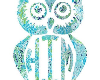 Vinyl decal- lilly pulitzer inspired-Owl Monogram-block letter- laptop, phone, car decal Yeti Water bottle- Owl- Monogram- Yeti Decal