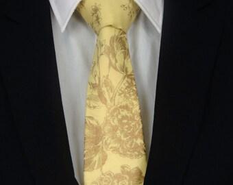 Floral Necktie, Floral Tie, Mens Necktie, Mens Tie, Gold Necktie, Gold Tie, Yellow Necktie, Yellow Tie, Gold Floral Necktie, Gold Floral Tie