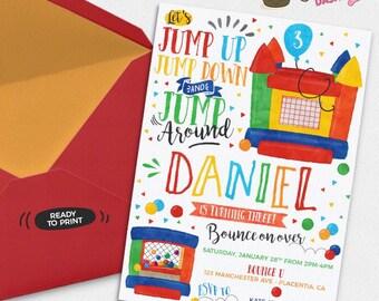 Bounce House Birthday Party invitations jump Birthday invitations Printable Watercolors birthday invitations bouncy house Invite