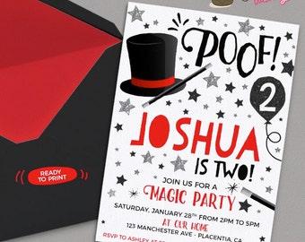 Magic Party invitation Magic Birthday invitations Printable Magic Show party invitations magician birthday Invite