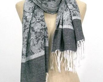 10% OFF Flora Pashmina Scarf,Spring Scarf, Autumm Scarf, Fall Scarf, Oversize Cowl Scarf, Shawl, Women Scarves, Gray scarf