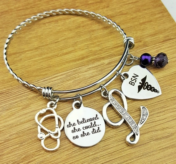 Nurse Graduation Gift Nurse Graduation Bracelet RN Graduation Gift RN Graduation Bracelet BSN Gift for Nurse She Believed She Could She Did