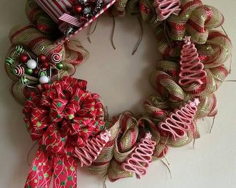Candy Cane Wreath, Jute Mesh Wreath, Christmas Wreath, Red & White Wreath, Holiday Wreath, Christmas Decor // Ready to Ship