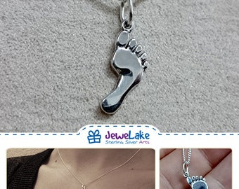 footprint necklace foot charm foot necklace silver foot footprint jewelry footprint charm foot pendant foot print jewelry footprint pendant
