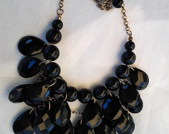 Vintage Chunky Black and Gold Beaded Statement Necklace