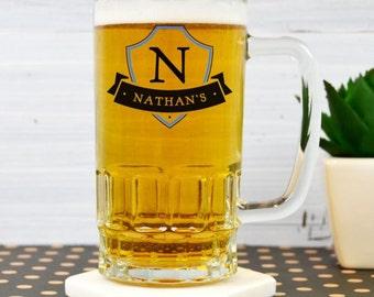 Personalised Initial Crest Beer Mug